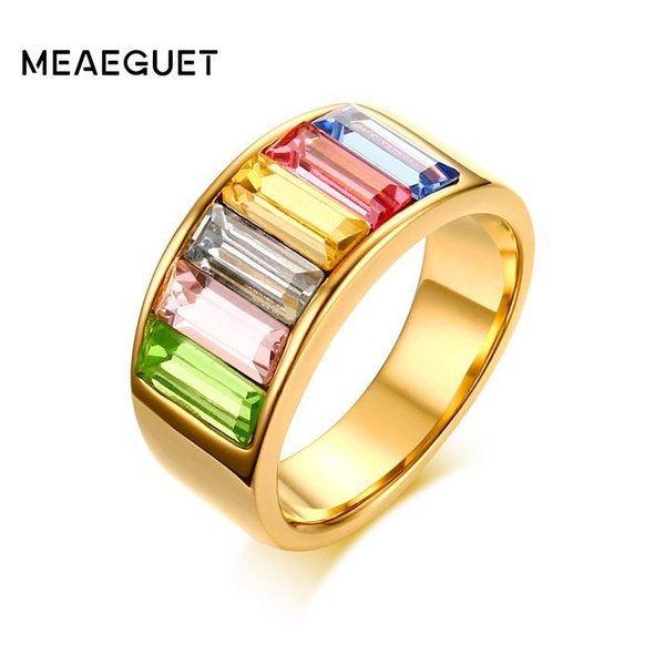 Ings para las mujeres Meaeguet Anillos para mujer de acero inoxidable \ Anillo cristales multicolores Declaración