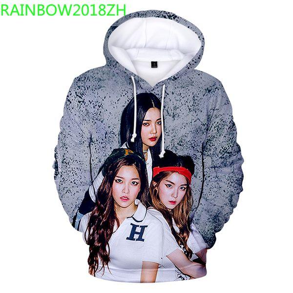 2019 Spring and Autumn Girls Fashion Korean Idol Red Velvet Series Women's Hoodie Casual Sweatshirt Street Women