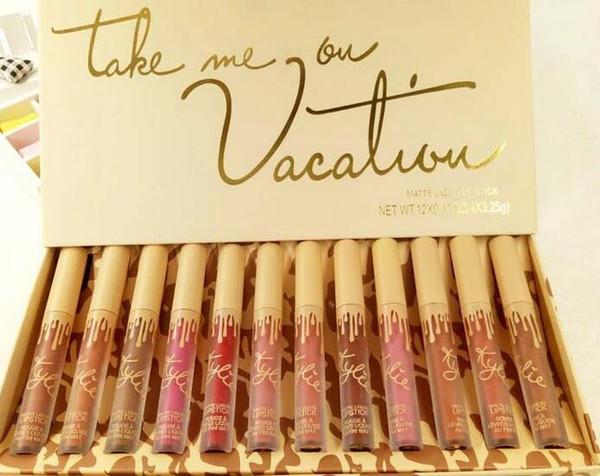 El más nuevo maquillaje de alta calidad de la marca Kelly Jenner mate barra de labios líquida conjunto maquillaje 12pcs / set barras de labios del paquete de envío libre de DHL