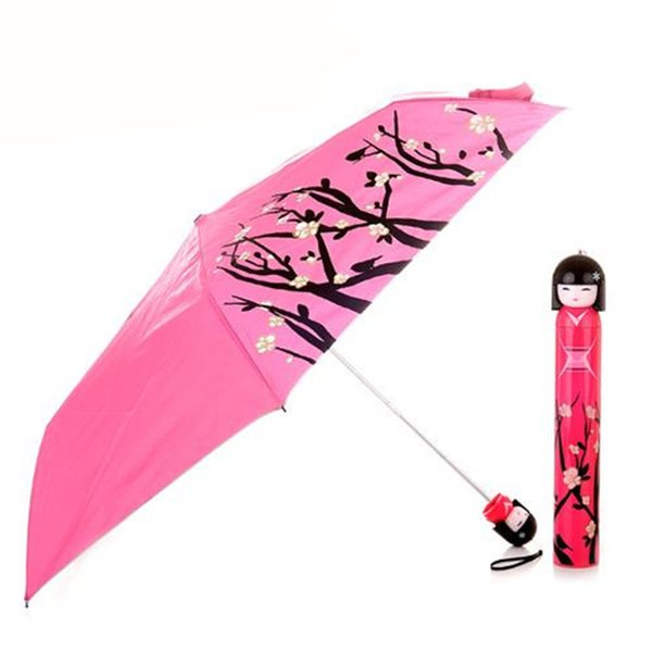 1Pcs Japanese Doll Shape Cartoon Cute Umbrella Girl Gift Metal Shelf Umbrellas Folding Student Princess Pencil Sun Umbrella Z536