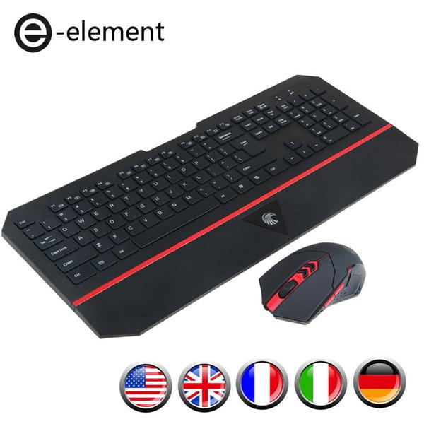 Mouse Chaser США Великобритания Английский Итальянский Немецкий Французский Беспроводная Клавиатура и Мышь Gamer Gaming Set Kit Combo USB для Компьютера ПК Office Typing