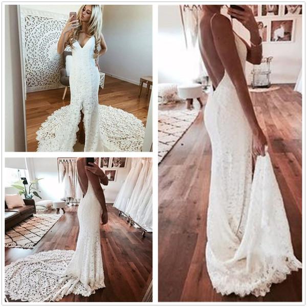 2019 New Elegant Sexy Wedding Dresses Mermaid Hollow Back Court Train Lace Bridal Gowns Country Bohemian Styles vestido de novia