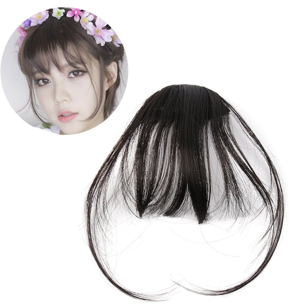 Women Hot Sale Front Neat Air Fringe Bangs Clip in bang fringe Hair extensions straight Synthetic 100% Real Natural hairpiece
