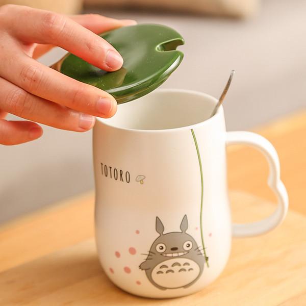 NUEVO 280 ml Hecho A Mano Cerámica Tazas Con Cuchara y Cubierta Totoro Tema de Dibujos Animados Tazas de Leche Taza de Herramientas de Cocina