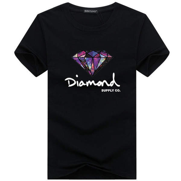 Top quality Cotton O-neck men tshirt short sleeve diamond print casual T shirt for men 2019 plus size S-5XL Y7