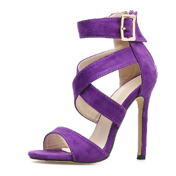 New Sexy Yellow Purple Women Sandals Pumps Open Toe Buckle Strap Sandals Women Stiletto Fashion Sandals Shoes