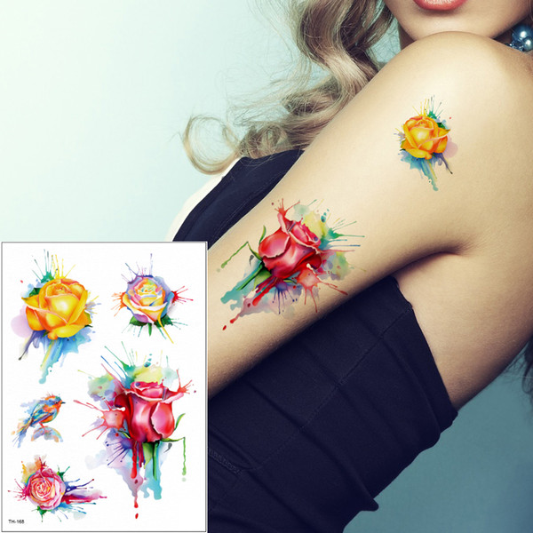 Watercolor Flower Birds Tattoos Deisngs for Male Female Foot Back Arm Leg Body Art Painting Temporary Tattoo Sticker Waterproof Colored Draw