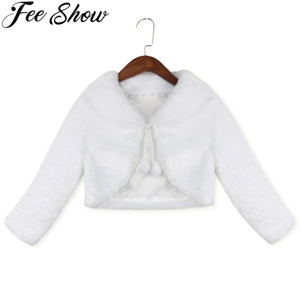 2-8 Years Kids Girls Cute Long Sleeves Clothing Princess White Bolero Jacket Wedding Outwear Party Coat
