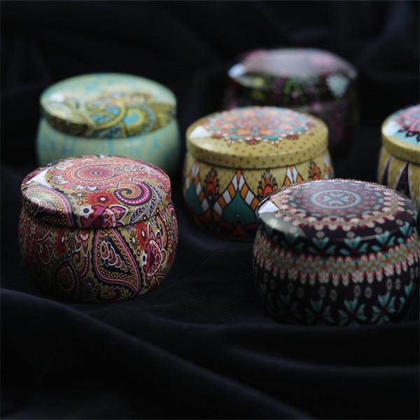 Boîte de bonbons de haute qualité en étain Designer de luxe Bohême Style Fleur Pot de Thé Coloré Bougeoir Vente Chaude 2 3zs Ww