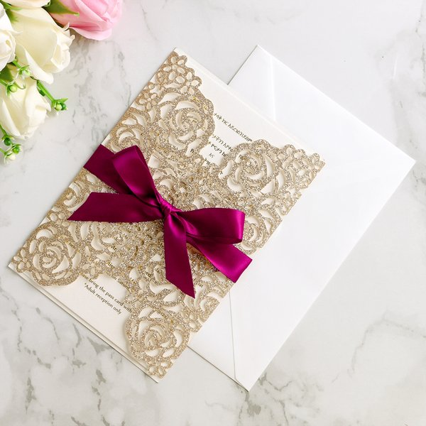 Wedding Invitation Card Golden Glitter Bow Envelope Inner Page Ribbon Cover Laser Cut Hollow Wedding Invitation Cards Wedding Invitations Templates