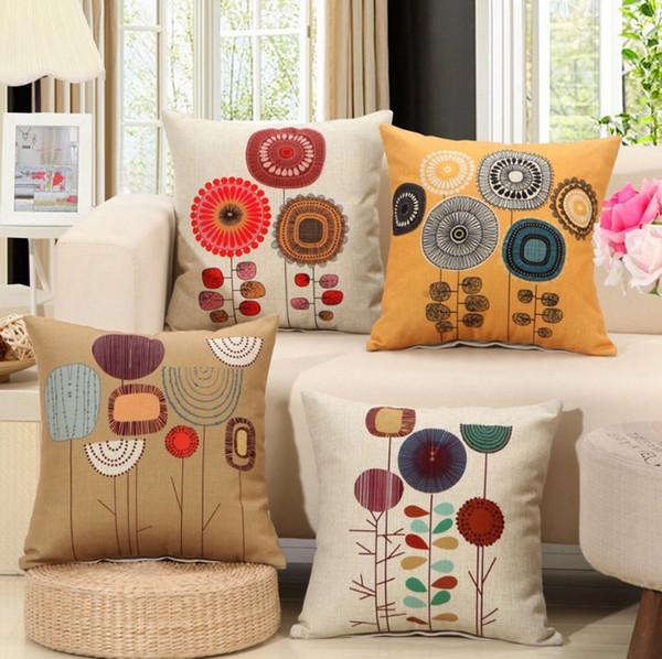 Pillow Covers Cartoon Flower Throw Pillow Case Sofa Linen Cushion