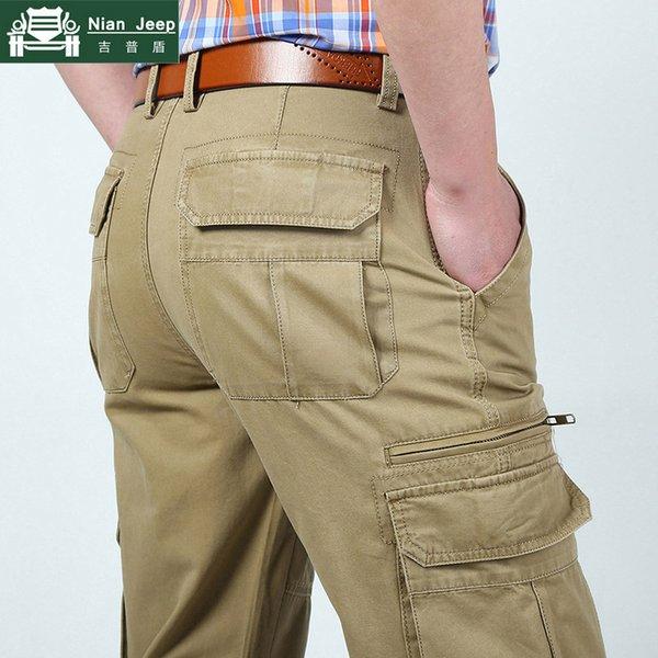 Marka Kargo Pantolon Erkekler Pamuk Iş Çok cep Erkek Uzun Pantolon Dış Giyim Düz Pantolon Erkek Artı Boyutu 30-44