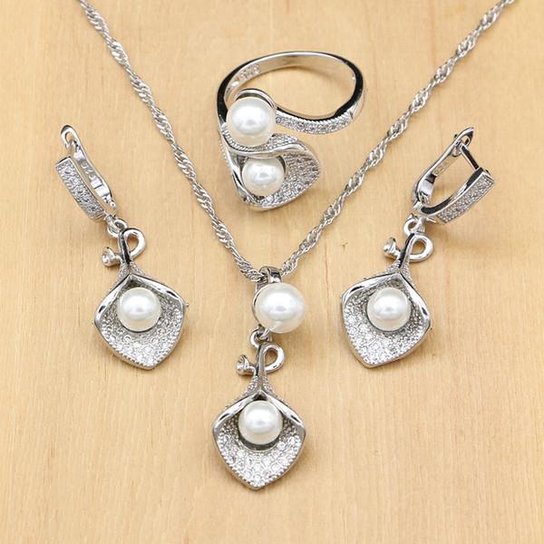 925 silber Brautschmuck Sets Weiße Perle Zirkon Für Frauen Hochzeit Anhänger Ohrringe Offene Ringe Morning Glory Halskette Set