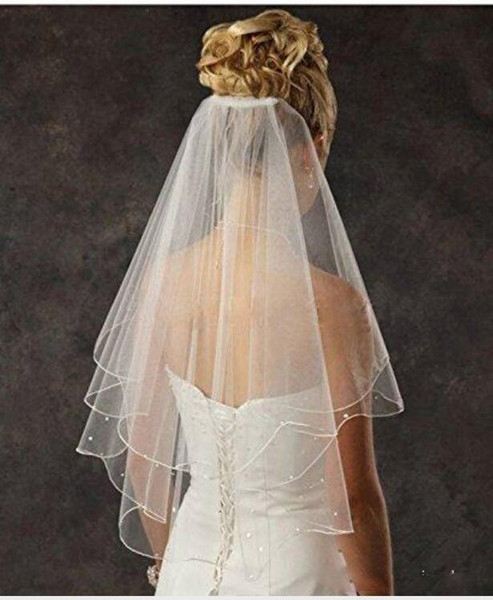 Cheap Bridal Veils Women's 2 Tier Spark Bridal Pearl Wedding Veil With Comb