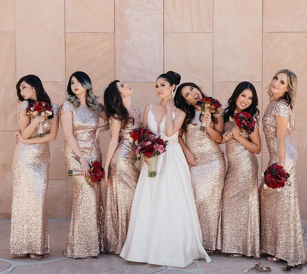 Rose Gold Sequins Mermaid Long Bridesmaid Dresses 2019 Sparking Short Ruched Sweep Train Wedding Guest Party Maid Of Honor Dresses