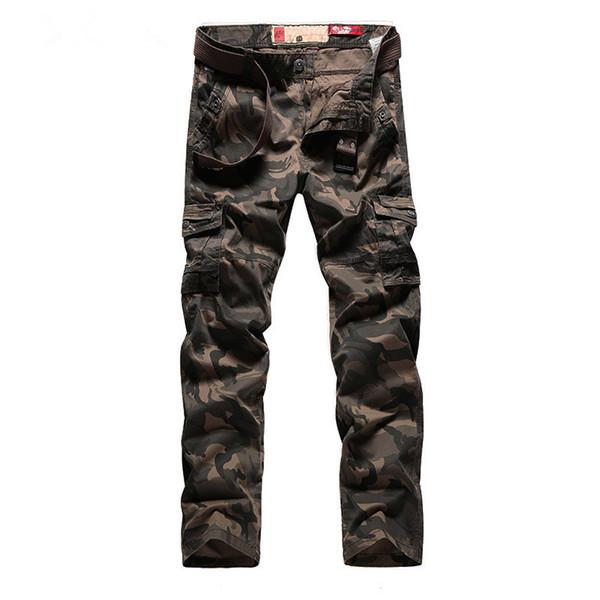 Personalidade dos homens Camuflagem Uniformes Calças Compridas Carga Calças Calças Militares Boa Qualidade Bolsos Exército Verde plus size