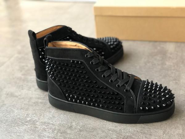 2019 Designer Sneakers júnior Suede Studded tocão Calçado formadores fundo plano sapato de prata top Red cravado sapatos masculinos c21