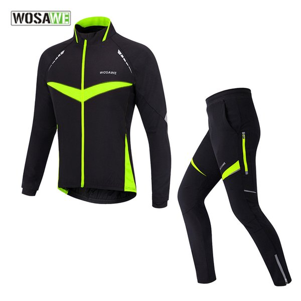 WOSAWE Winter tight motorcycle Jacket Thermal Fleece male off-road coat riding set motocross clothing motorcycles pants