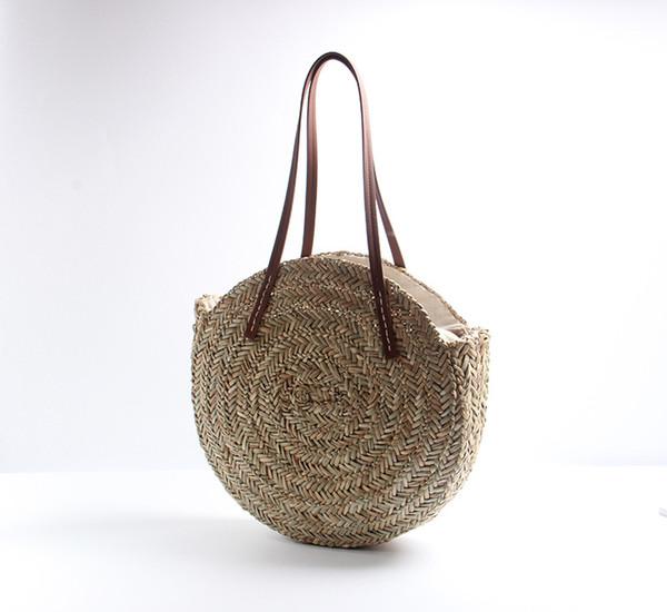 Bolsas redondas de paja tejidas para mujer Bolso de playa Oval natural Bolso de mano grande del círculo Bolso al aire libre bolsos de viaje QQA427
