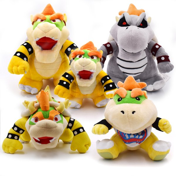 "7-10""18-25CM Koopa Super Mario Plush 3D Land Bone Kubah Bowser Dragon Plush Toy Bolster Stuffed Dolls Dry Bones Free Shipping"