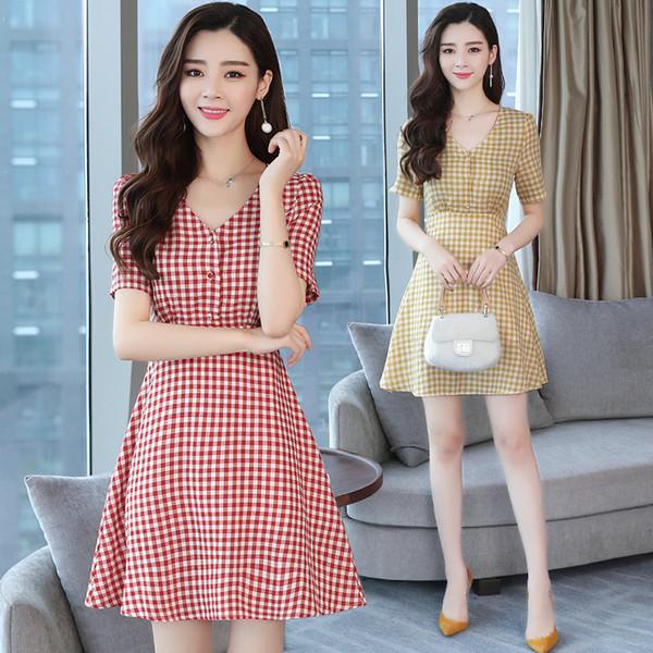2019 Yeni Yaz Kırmızı Ekose Elbise Vintage Iş Elbisesi Elbise Kısa Kollu V Yaka Ofis Lady Kadınlar Elbise