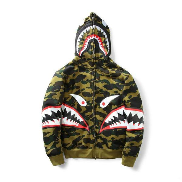 2019 New Autumn Winter Men Women Shark Mouth Printing Casual Hoodies Loves Casual Zipper Cardigan Spot Sweatshirt Coats wholesale