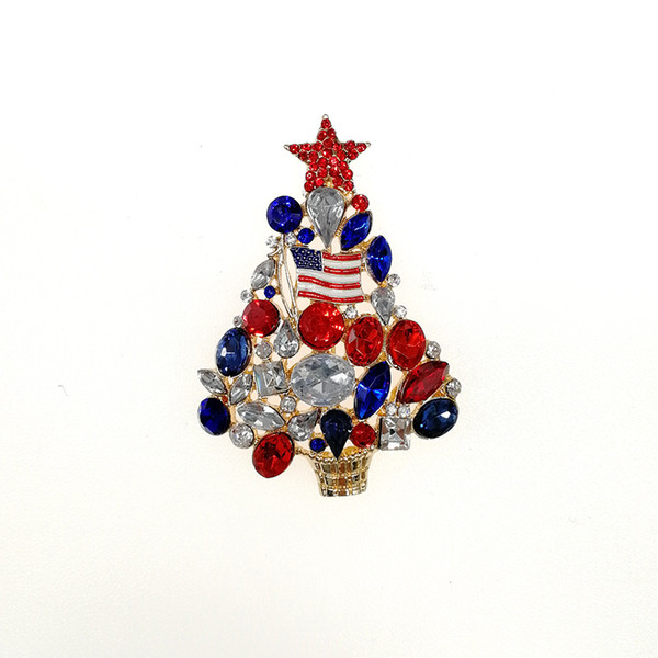 Christmas Brooches And Pins.2018 Christmas Tree Rhinestone Decorative Christmas Brooch Pin Amercia Flag Brooches From Lln10004 153 77 Dhgate Com