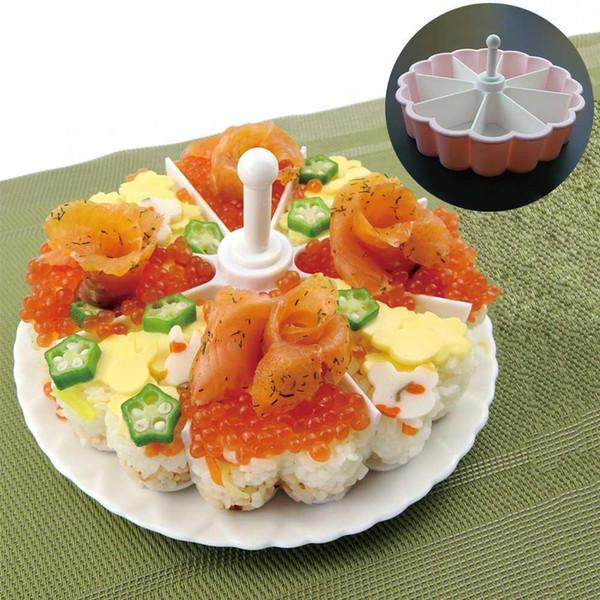 1 Takım 8 Delik Kalp Şekli Suşi Kalıp Plastik Sushi Maker Set Pirinç Topu Kek Pan Yapışmaz Araçları Gadget Gümrükleme Satış