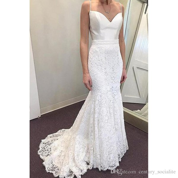 2019 Newest Spaghetti Mermaid Wedding Dresses Lace Satin Zipper Chapel Train Plus Size Bridal Gowns Custom Made Robes De Mariée Cheap