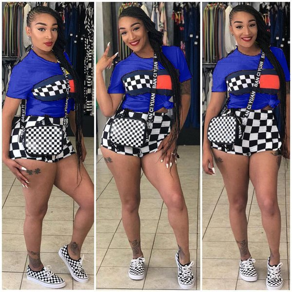 Summer Women Shorts Set Grid Tracksuit Black White Plaid T shirt + Shorts Short Sleeve Outfits Plus Size Sportswear Street Suits hot B3181