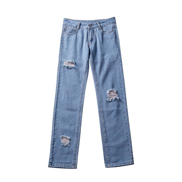 Boyfriend Jeans Women Vintage Hole Ripped High Waist Straight Jeans for Girl Casual Straight Pants Plus Size