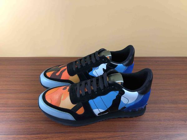 YENI Tasarımcı spor ayakkabı adam kadın Hakiki Deri Kauçuk damızlık kamuflaj rockrunner İtalya'dan rahat sneakers ile kutu boyutu 35-45