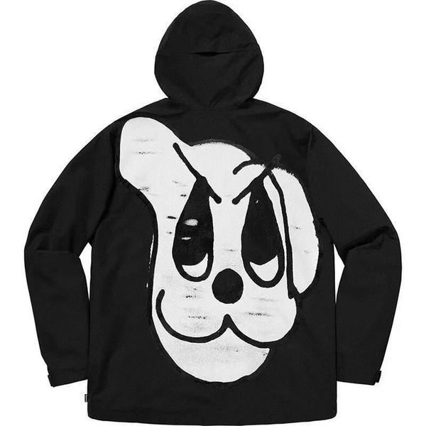 18FW Kutusu Logosu Köpek Bantlanmış Dikiş Ceket Lüks Su Geçirmez Rüzgar Geçirmez Açık Ceket Sonbahar Kış Coat Moda Sokak Giyim HFYMJK155