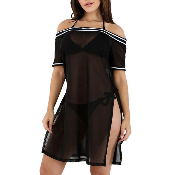 2018 Summer Dress Women Fashion Slash Neck Perspective Grid Lace Sexy Slim Sheath Dress Women Dresses Vestidos