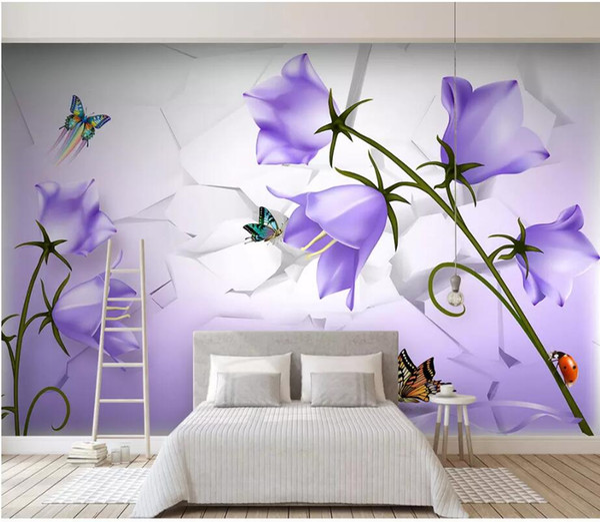 WDBH 3d wallpaper custom photo Beautiful dreamy purple flower butterfly living room home decor 3d wall murals wallpaper for walls 3 d