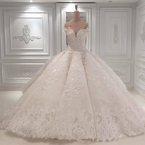 Vestido De Noiva Ball Gown Designer Wedding Dresses 2019 Off The Shoulder Cathedral Train Lace Appliques Bridal Gown For Church Custom Made
