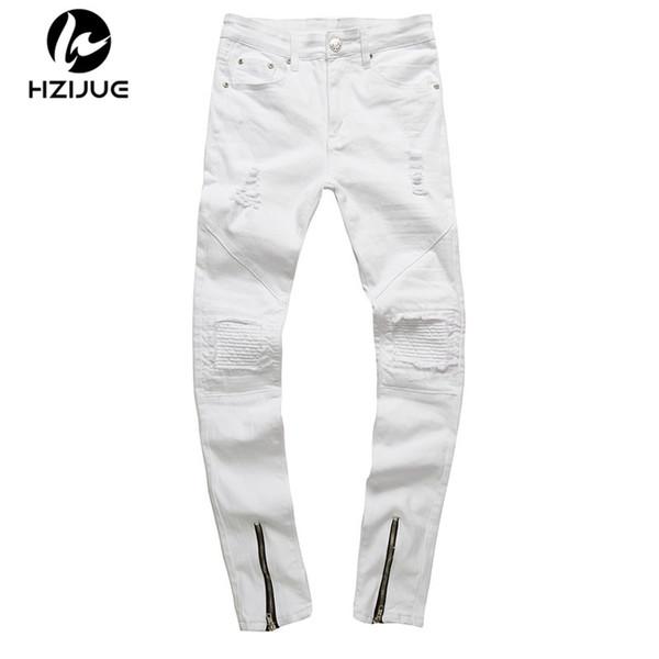 HZIJUE men zipper designer white jeans men pantalones vaqueros hombre casual mens jean HIP HOP skinny motorcycle denim pants