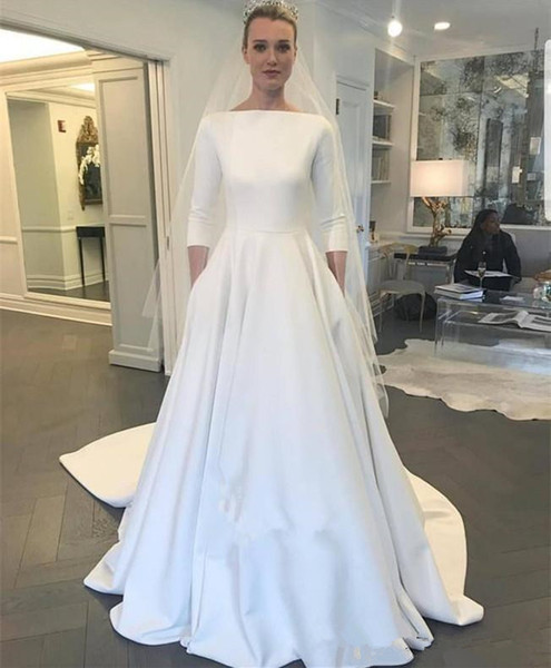Simple 3/4 Long Sleeves Wedding Dresses with Buttons Back 2019 A Line Dress Satin muslim princess Bridal Wedding Gowns