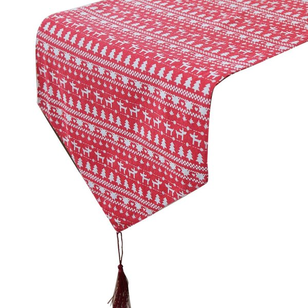 Christmas supplies linen printed Christmas tablecloths tree elk pattern tablecloth