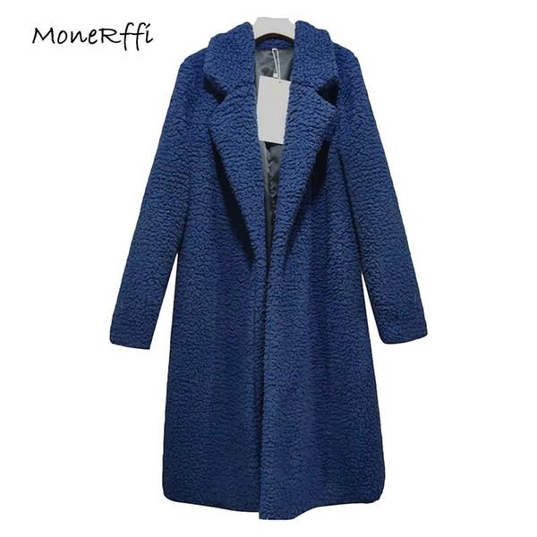 Monerffi 2018 Winter Thicken Women Long Coat Faux Fur Jackets Lapel Teddy Bear Cardigan Slim Plus Size Lamb Wool Outwear T4190610