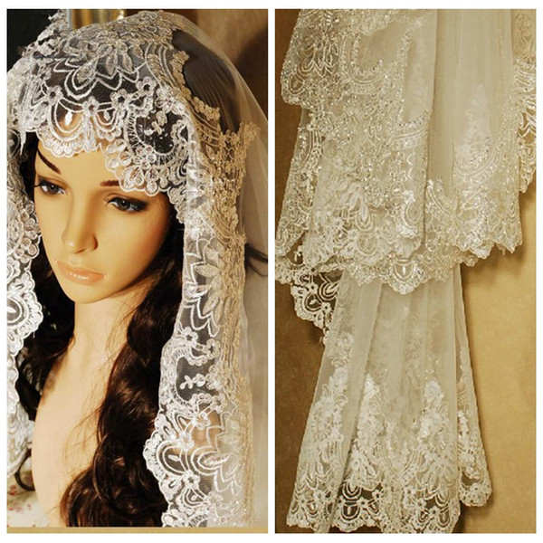 best selling Luxurious Lace Appliques Edge Pattern of Beaded Sequin Embroidery Cathedral Wedding Veil 3M Long Bridal Wedding Head Veil Cheap Wedding