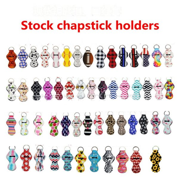best selling Neoprene Keychain Sports Printed Chapstick Holder Leopard Keychian Wrap Lipstick Cover Party Favor Christmas Gift 61 Designs 300pcs YW1710