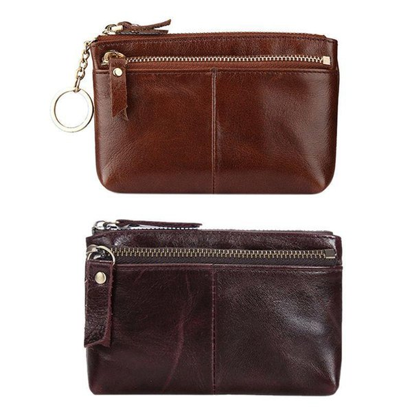 Pop2019 Women Leather Key Ring Change Wallet Coin Card Pouch Mini Purse Zipper Small Bag