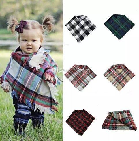 Новорожденных девочек зимой плед плащ дети решетки шаль шарф пончо кашемир плащи верхняя одежда дети пальто куртки одежда 5 цветов C5084