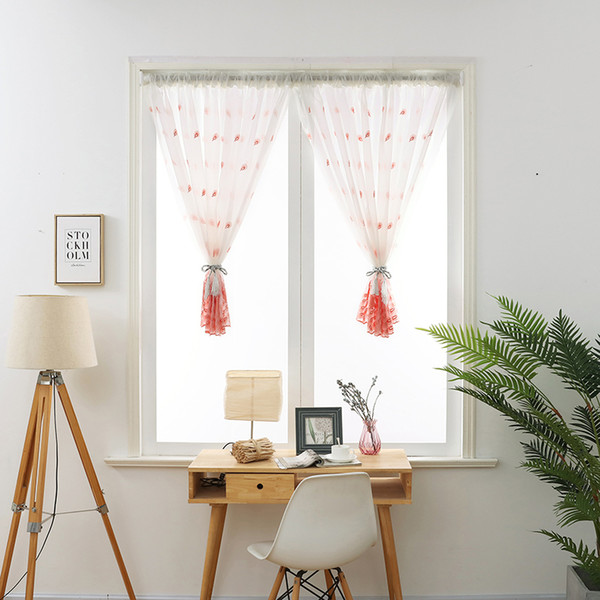 2019 Short Curtain Valance Pelmet Voile Curtains Embroidered