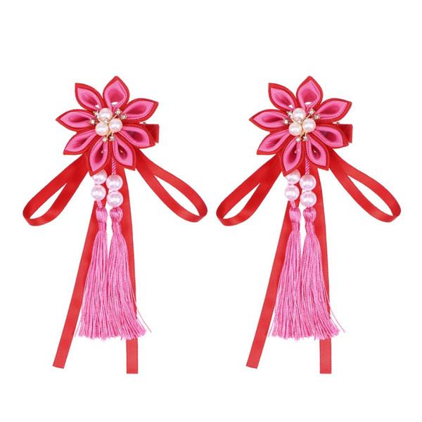 2 Pcs Hair Clips Flower Pink Pearl Cute Tassels Hanging Hairpins Barrettes Hair Grips for Girls Kids