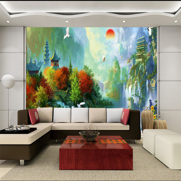 3d stereoscopic wallpaper mural scenery TV living room sofa background Wall paper European pastoral country oil painting castle