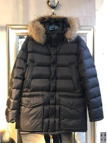 Mens Down Jackets Warm Winter Jacket Men Down Parka Fur Collar Goose Jacket Man Coat Brand Winter Coat Black