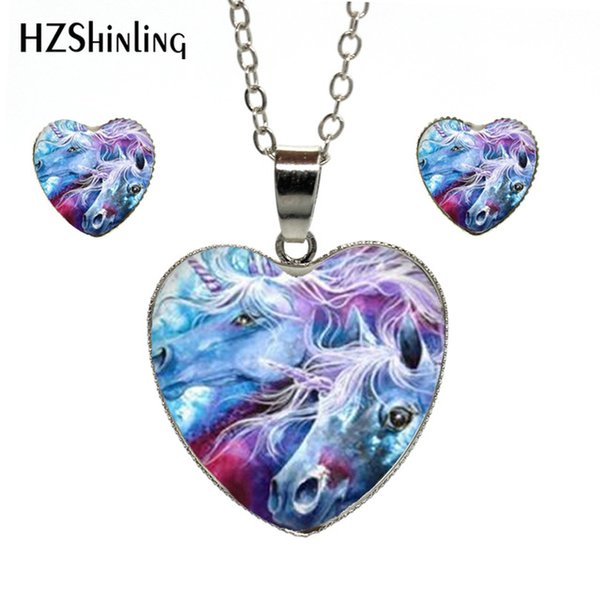 New Trendy Fantasy Unicorns and Pegasus Photo Jewelry Heart Jewelry Set Hand Craft Silver Chain Heart Necklace and Earrings