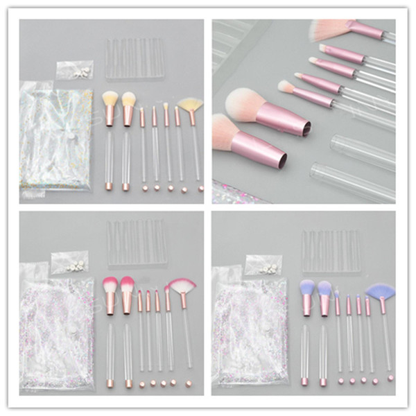 Pincéis de maquiagem 7 Pcs com Vazio Clear Handle (10 Estilo) Portátil e Glitter com Saco de Cosméticos Mais de 30 pcs DHL Frete Grátis